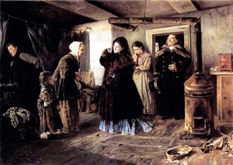 Visiting a Poor People-Vladimir Nakovsky, 1874